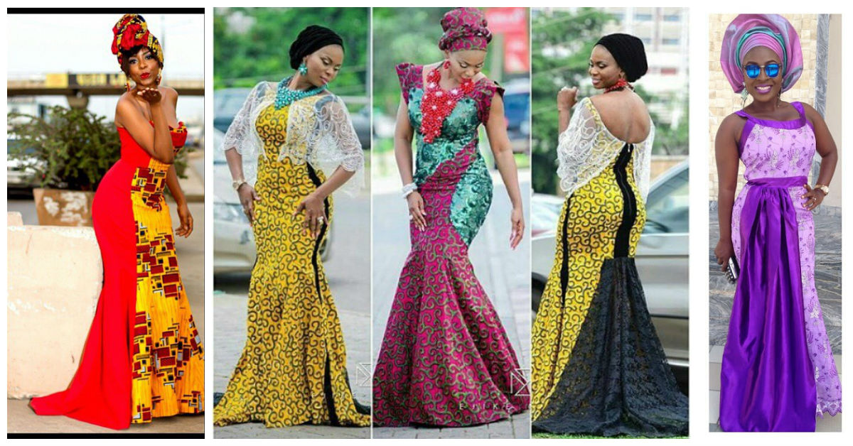 Amazing Wedding Guest Long Gowns Lace/Ankara Inspired ...